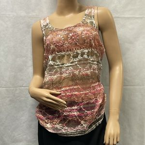 Vanity Netted Lace Silver Detailing Tank Top